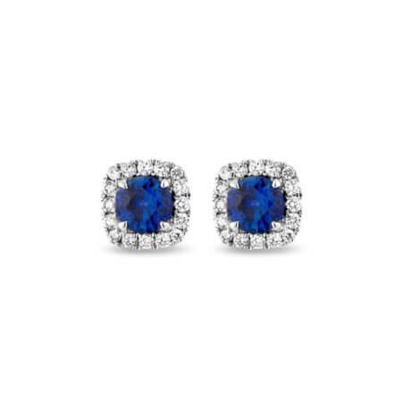 Ceylon Blue Sapphire Stud Earrings with Diamond Halos