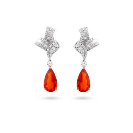 Pear-Shaped Mexican Fire Opal Drop Earrings with Diamonds