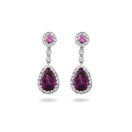 Purple Garnet Gemstone Drop Earrings