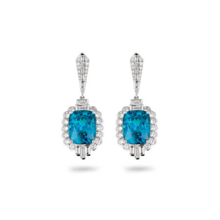 Blue Zircon Gemstone Drop Earrings