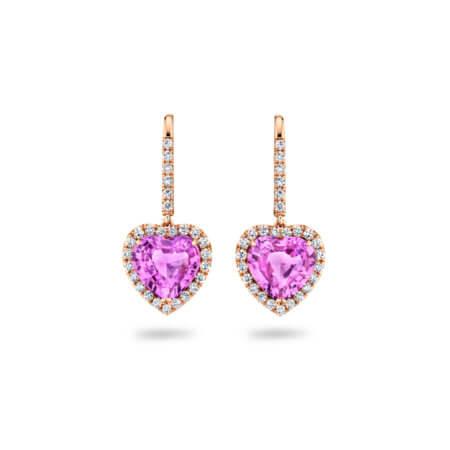 Pink Sapphire Heart-Shaped Earrings in Rose Gold