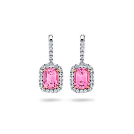 Pink Spinel Earrings with Diamond Halo Earrings