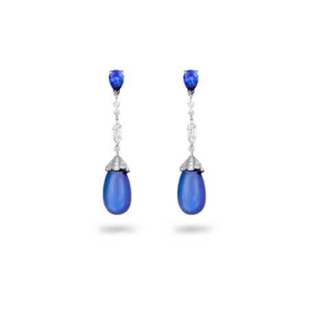 Tanzanite Cabochon Drop Earrings