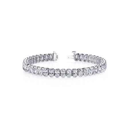 Oval Diamond Tennis Bracelet in Platinum