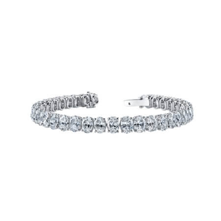 GIA-Certified Oval Diamond Tennis Bracelet