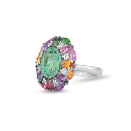 Green Tourmaline Gemstone Cocktail Ring