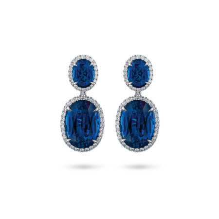 Sapphire and Diamond Halo Dangle Earrings