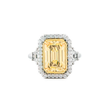 Emerald Cut Fancy Yellow Diamond Ring