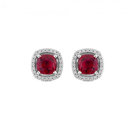 Ruby and Diamond Halo Earrings