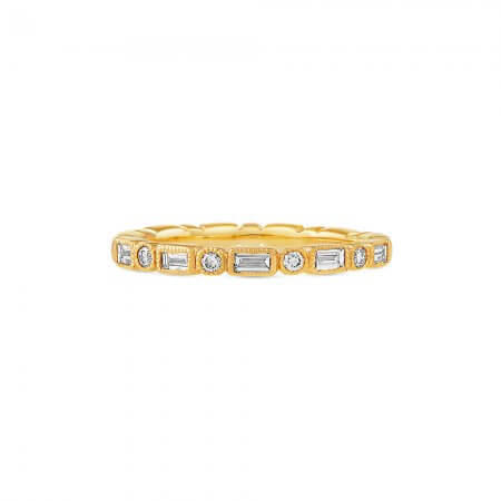 Round and Baguette Cut Band