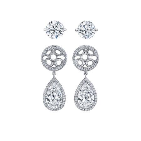 Jacket-Style Diamond Dangle Earrings