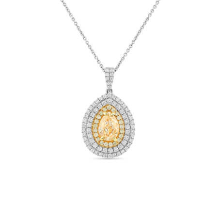 Yellow Diamond Halo Pendant