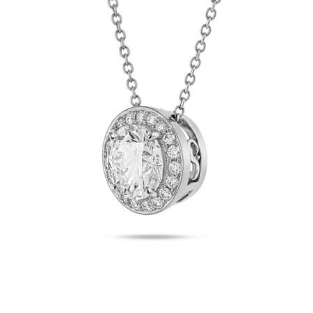 Round Brilliant Halo Pendant