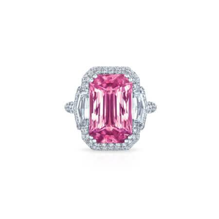 Emerald Cut Pink Sapphire Ring
