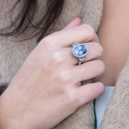 Lavender Spinel & Diamond Ring