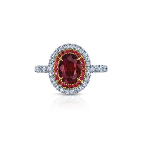 Burmese Ruby Halo Ring