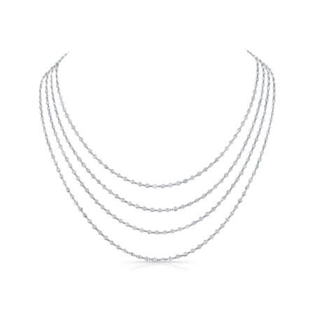 White Gold Diamond Chain Layered
