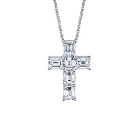 Emerald Diamond Cross Pendant