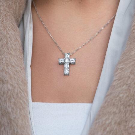 Emerald-Cut Diamond Cross Pendant