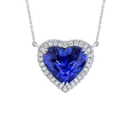 Ceylon Sapphire Heart Halo Pendant