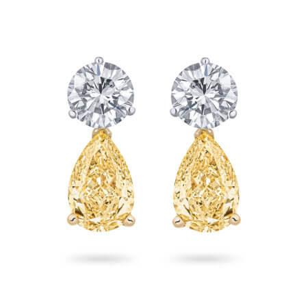 Yellow Diamond Pear Drop Earrings