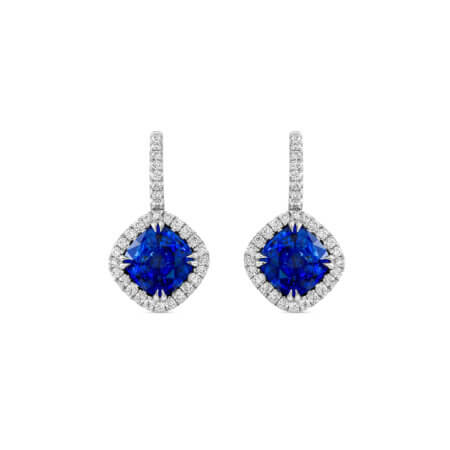 Ceylon Sapphire Halo Earrings