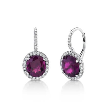 Purple Garnet Diamond Halo Earrings