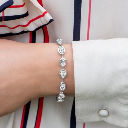 Multi-Shaped Diamond Tennis Bracelet