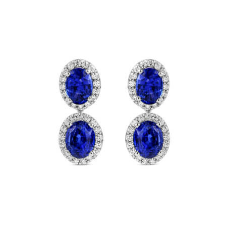 Oval Ceylon Sapphire Diamond Halo Drop Earrings