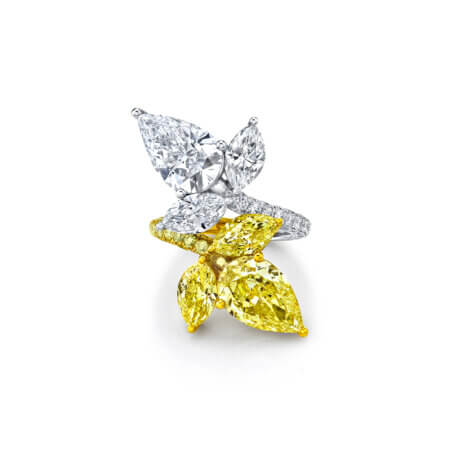 Pear-Shaped Diamond Ring with Fancy Yellow Diamonds