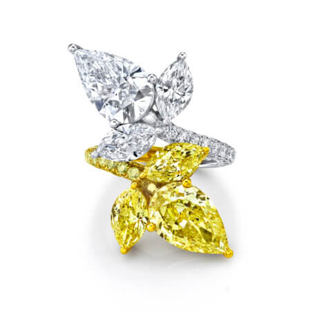 Colorless White & Fancy Yellow Diamond Ring