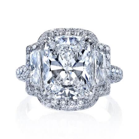 Cushion-Cut Diamond Halo Engagement Ring