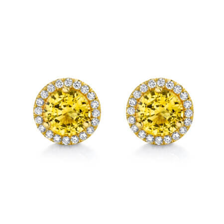Yellow Sapphire Diamond Halo Earrings in yellow gold