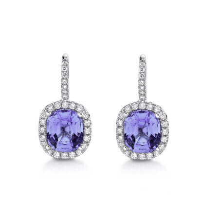Lavender Spinel and Diamond Halo Earrings