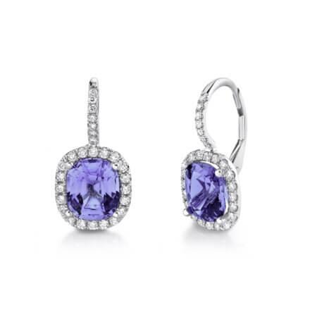 Purple Spinel and Diamond earrings