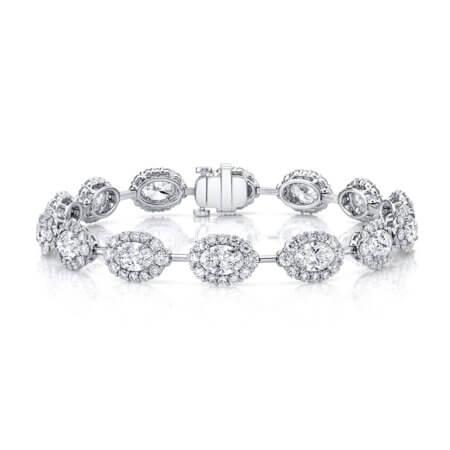 Oval Diamond Halo Bracelet in Platinum