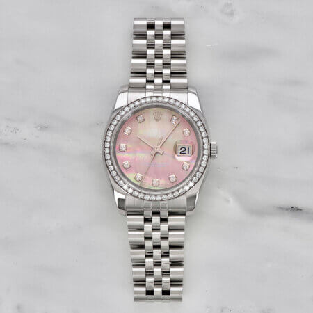Rolex Datejust 36 with diamonds and mother of pearl dial
