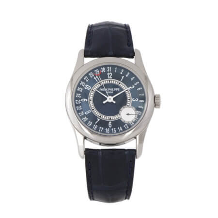 Pre-Owned Patek Philippe Calatrava Ref. 6000G with blue dial in white gold