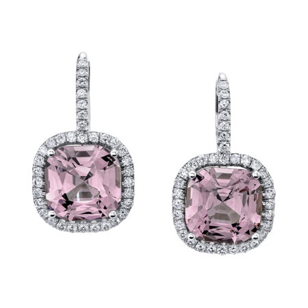 Diamond and Lavender Spinel Earrings