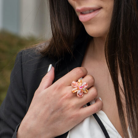 Tourmaline and Topaz Flower Ring