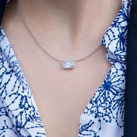 Emerald Cut Diamond Necklace