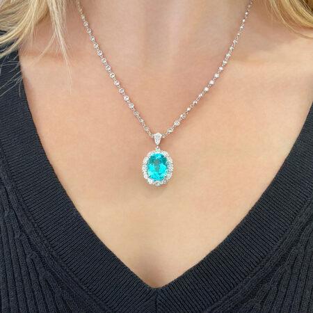 Oval Paraiba Tourmaline and Diamond Necklace in Platinum Paraiba Tourmaline & Diamond Pendant