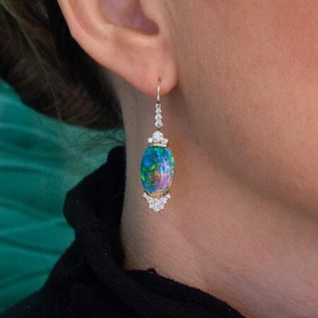 Custom Black Opal Earrings