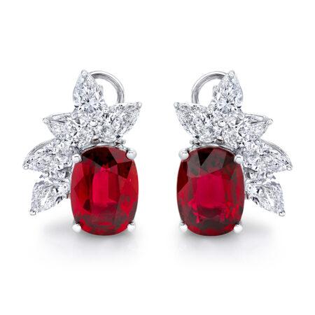 Cushion-cut Ruby Earrings