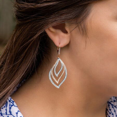White And Rose Gold Earrings