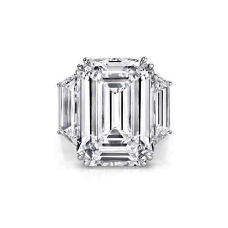 Emerald-Cut Three-Stone Diamond Ring