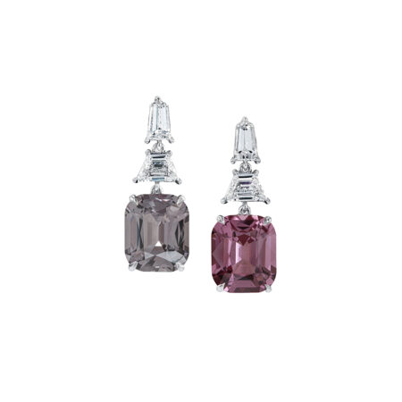 Gray and Pink Spinel Earrings